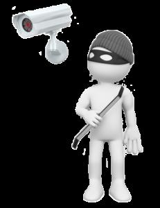 Einbrecher sieht Kamera